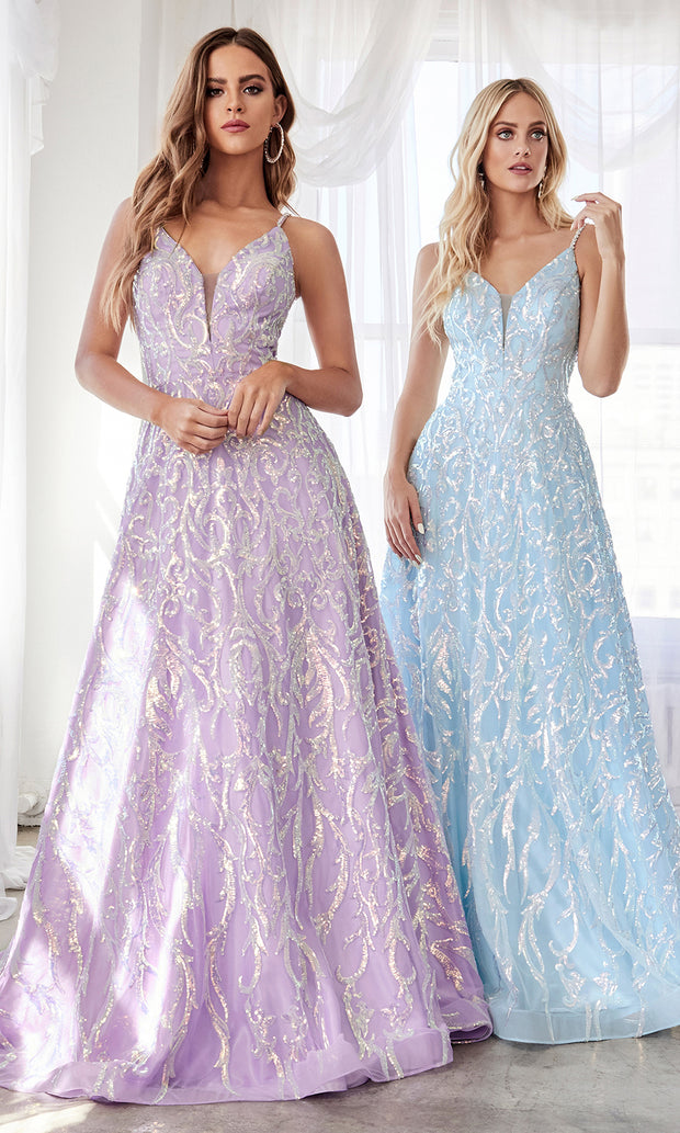 Cinderella CB055 long lilac metallic beaded off v neck semi ballgown w: open back. Perfect light purple evening dress for prom, formal wedding guest dress, indowestern gown, prom, engagement:wedding reception, debut, sweet 16. Plus sizes available.jpg
