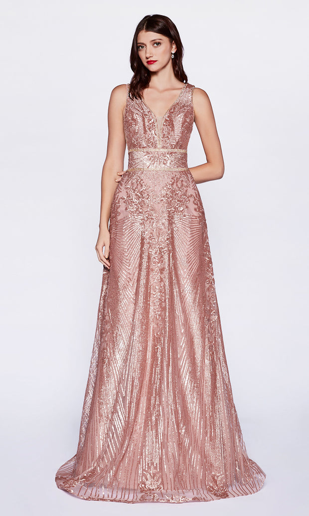 Cinderella CD09 long rose gold tulle beaded v neck flowy dress w/wide straps. Perfect rose gold evening dress for prom, formal wedding guest dress, indowestern gown, prom, engagement/wedding reception, debut, sweet 16. Plus sizes available.jpg