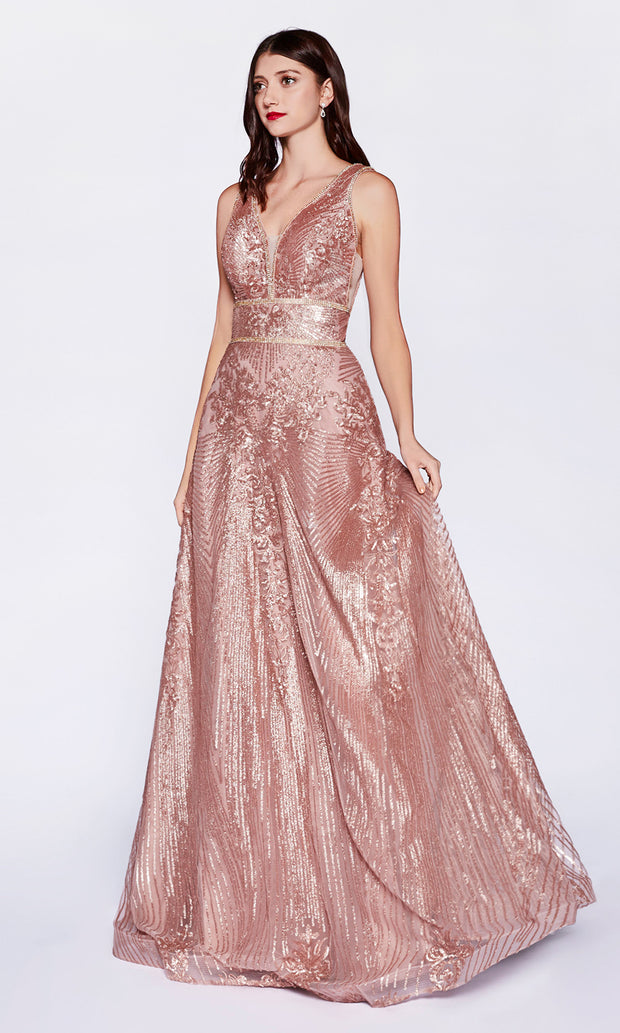 Cinderella CD09 long rose gold tulle beaded v neck flowy dress w/wide straps. Perfect rose gold evening dress for prom, formal wedding guest dress, indowestern gown, prom, engagement/wedding reception, debut, sweet 16. Plus sizes available-2.jpg
