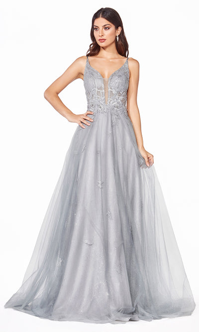 Cinderella CD50 long silver gray tulle v neck flow simple dress w/ wide straps & low back. Perfect light grey evening dress for prom, formal wedding guest dress, indowestern gown, prom, black tie event, gala, debut, sweet 16.Plus sizes available-2.jpg