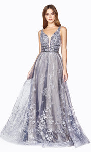 Cinderella CD75 long dusty blue beaded v neck flowy dress with sequin glitter. Perfect for prom, formal wedding guest dress, engagement dress, wedding reception dress, indowestern gown. Plus sizes available.jpg