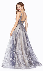 Cinderella CD75 long dusty blue beaded v neck flowy dress with sequin glitter. Perfect for prom, formal wedding guest dress, engagement dress, wedding reception dress, indowestern gown, prom. Plus sizes available. Back of dress.jpg