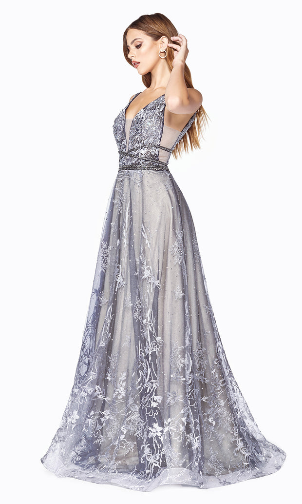 Cinderella CD75 long dusty blue beaded v neck flowy dress with sequin glitter. Perfect for prom, formal wedding guest dress, engagement dress, wedding reception dress, indowestern gown, prom. Plus sizes available. Side view of dress.jpg