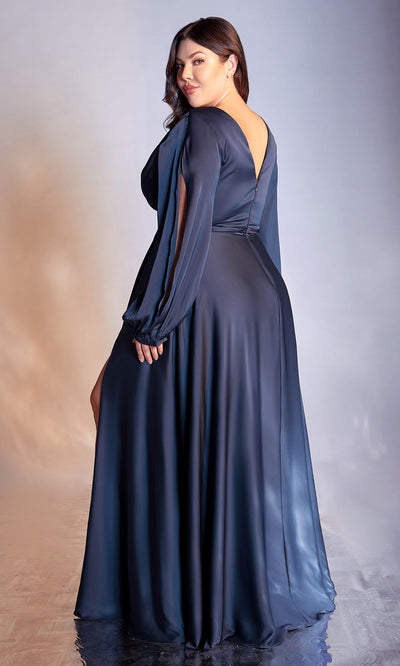 Cinderella Divine - 7475C Plunging Neckline High Slit A-Line Dress In Blue