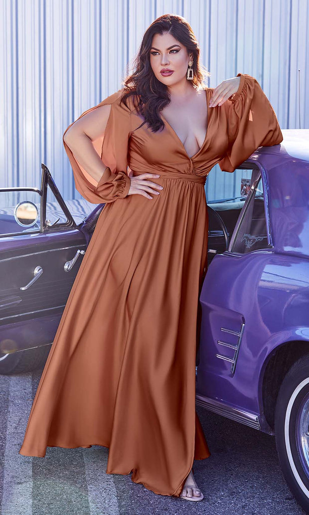 Cinderella Divine - 7475C Plunging Neckline High Slit A-Line Dress In Brown