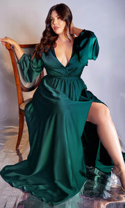 Cinderella Divine - 7475C Plunging Neckline High Slit A-Line Dress In Green