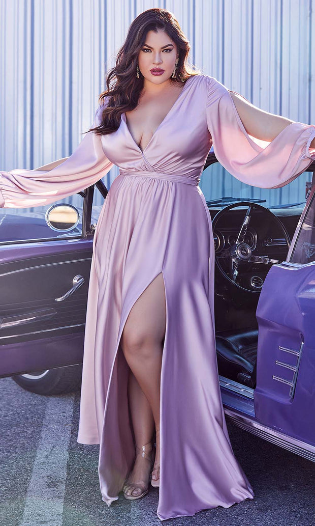 Cinderella Divine - 7475C Plunging Neckline High Slit A-Line Dress In Mauve