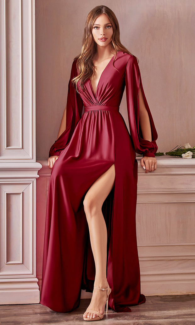 Cinderella Divine - 7475C Plunging Neckline High Slit A-Line Dress In Red