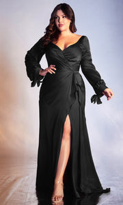 Cinderella Divine - 7478C Long Sleeve High Slit Ruffle A-Line Dress In Black