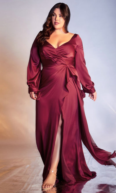 Cinderella Divine - 7478C Long Sleeve High Slit Ruffle A-Line Dress In Red