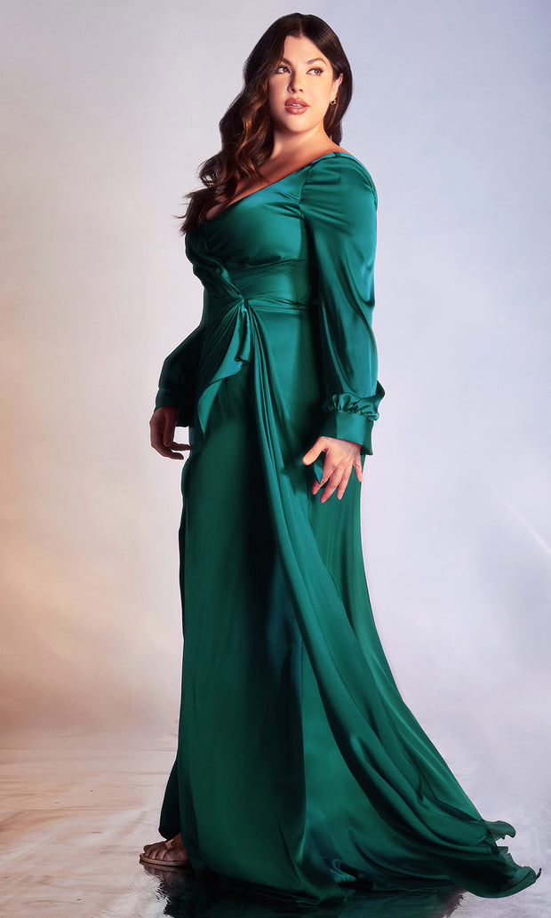Cinderella Divine - 7478C Long Sleeve High Slit Ruffle A-Line Dress In Green