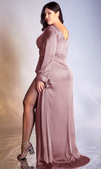 Cinderella Divine - 7478C Long Sleeve High Slit Ruffle A-Line Dress In Mauve