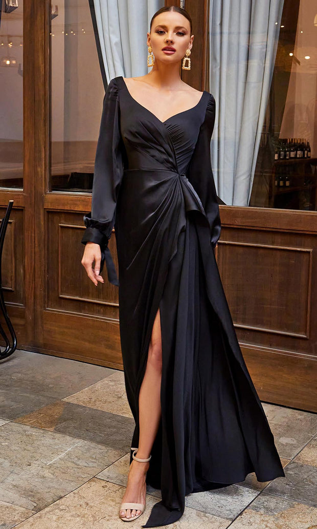Cinderella Divine - 7478 Wide Sweetheart Neck High Slit Evening Dress In Black