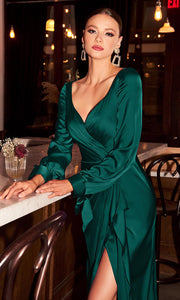 Cinderella Divine - 7478 Wide Sweetheart Neck High Slit Evening Dress In Green