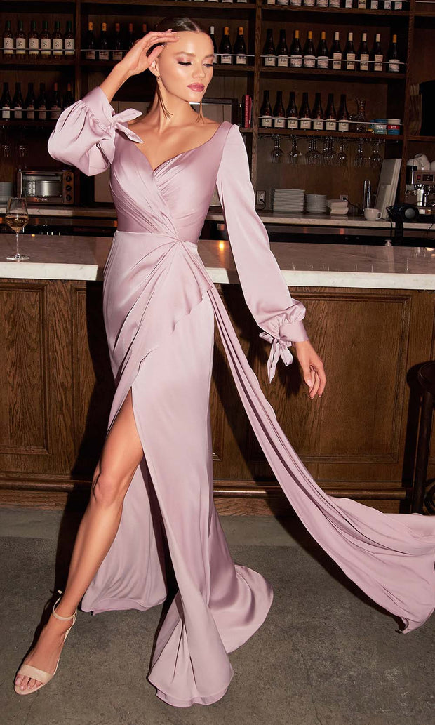 Cinderella Divine - 7478 Wide Sweetheart Neck High Slit Evening Dress In Mauve