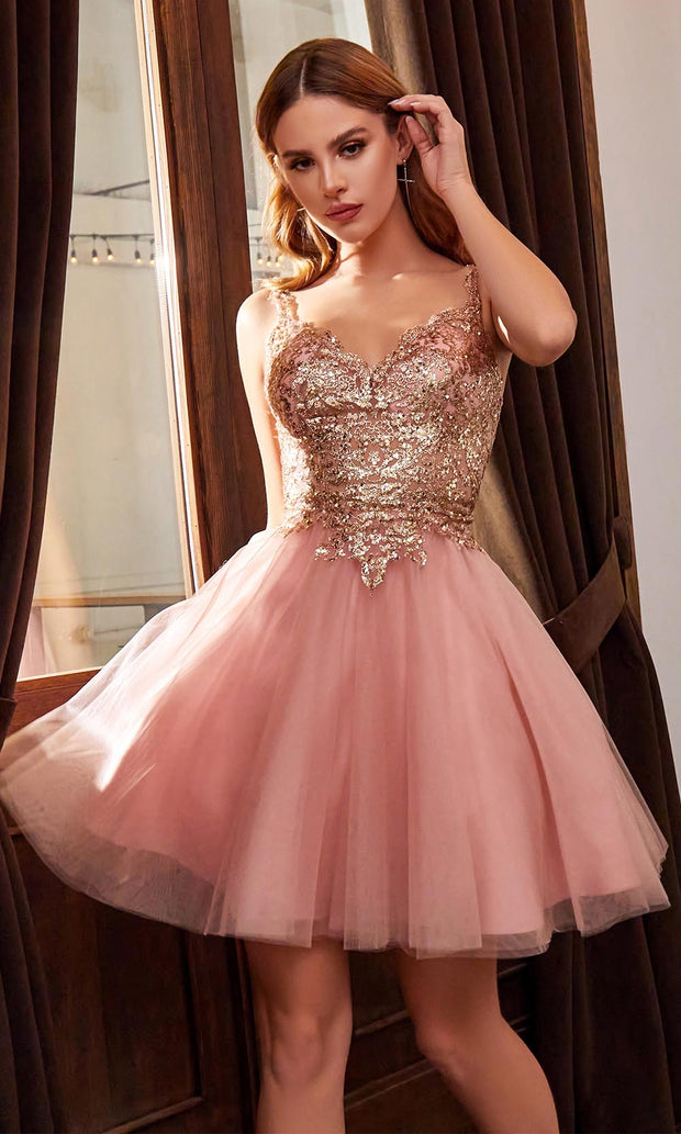 Cinderella Divine - 9239 Metallic Appliqued Fit And Flare Short Dress In Pink