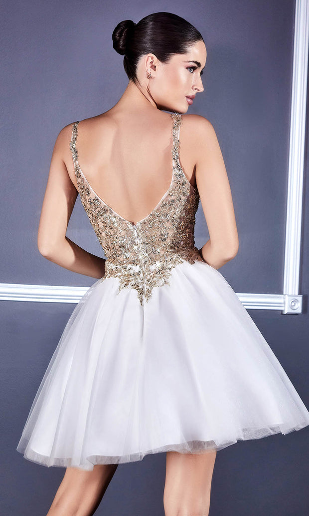 Cinderella Divine - 9239 Metallic Appliqued Fit And Flare Short Dress In White and Ivory