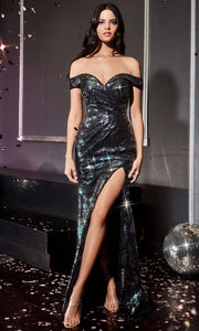 Cinderella Divine - A0918 Sequin Off Shoulder Sheath Dress