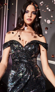 Cinderella Divine - A0918 Sequin Off Shoulder Sheath Dress In Black