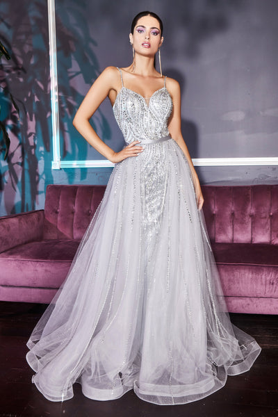 Cinderella Divine - A5083 Crystal Beaded Overskirt Gown In Silver