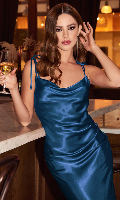 Cinderella Divine - BD103 Sleeveless Cowl Neckline Satin Sheath Dress In Blue