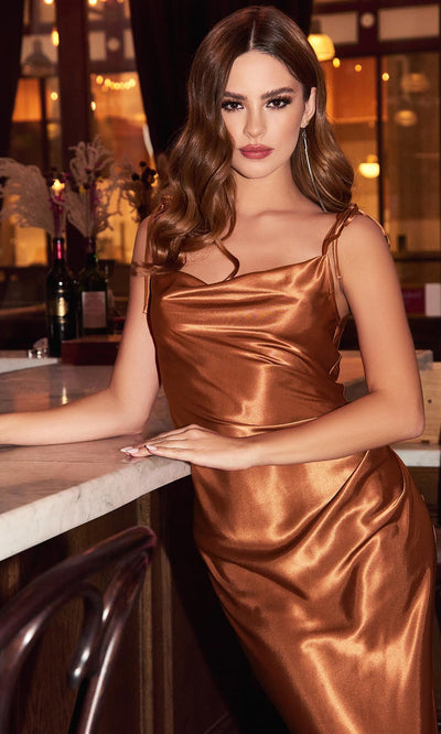Cinderella Divine - BD103 Sleeveless Cowl Neckline Satin Sheath Dress In Brown