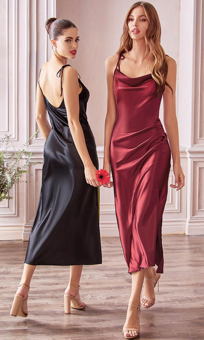 Cinderella Divine - BD103 Sleeveless Cowl Neckline Satin Sheath Dress