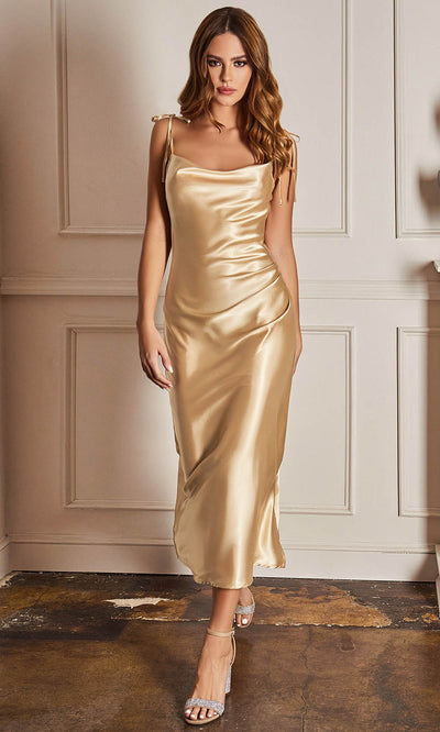 Cinderella Divine - BD103 Sleeveless Cowl Neckline Satin Sheath Dress In Champagne and Gold