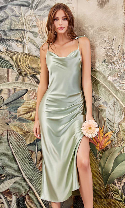 Cinderella Divine - BD103 Sleeveless Cowl Neckline Satin Sheath Dress In Green