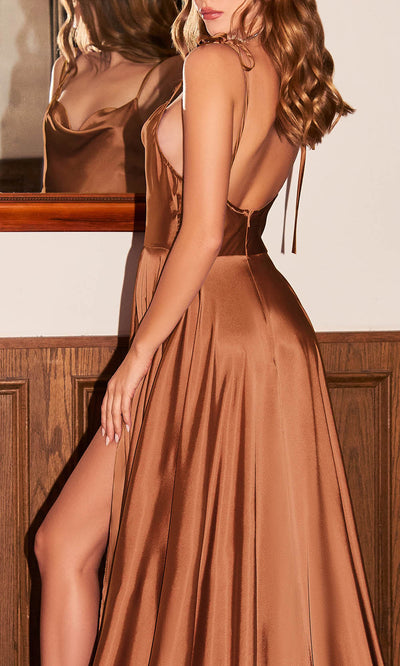 Cinderella Divine - BD104 Cowl Neckline High Slit A-Line Satin Gown In Brown