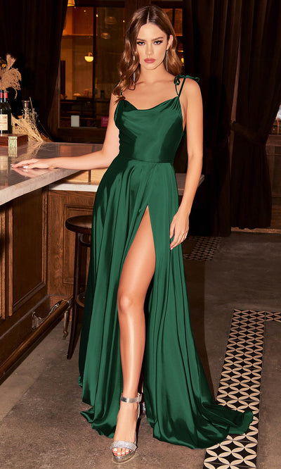 Cinderella Divine - BD104 Cowl Neckline High Slit A-Line Satin Gown In Green