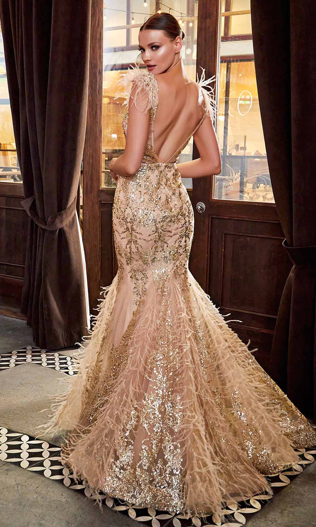 Cinderella Divine - C57 Embellished Deep V Neck Mermaid Gown In Champagne and Gold
