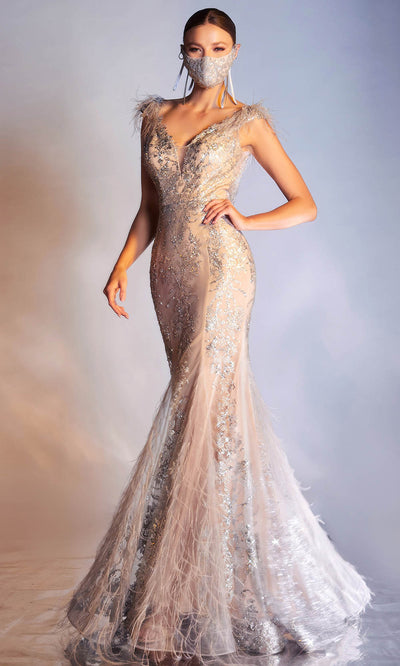 Cinderella Divine - C57 Embellished Deep V Neck Mermaid Gown In Silver and Gray