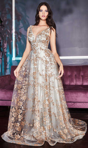 Cinderella Divine - CB068 Plunging V Neck Floral Metallic Print Gown In Champagne and Gold