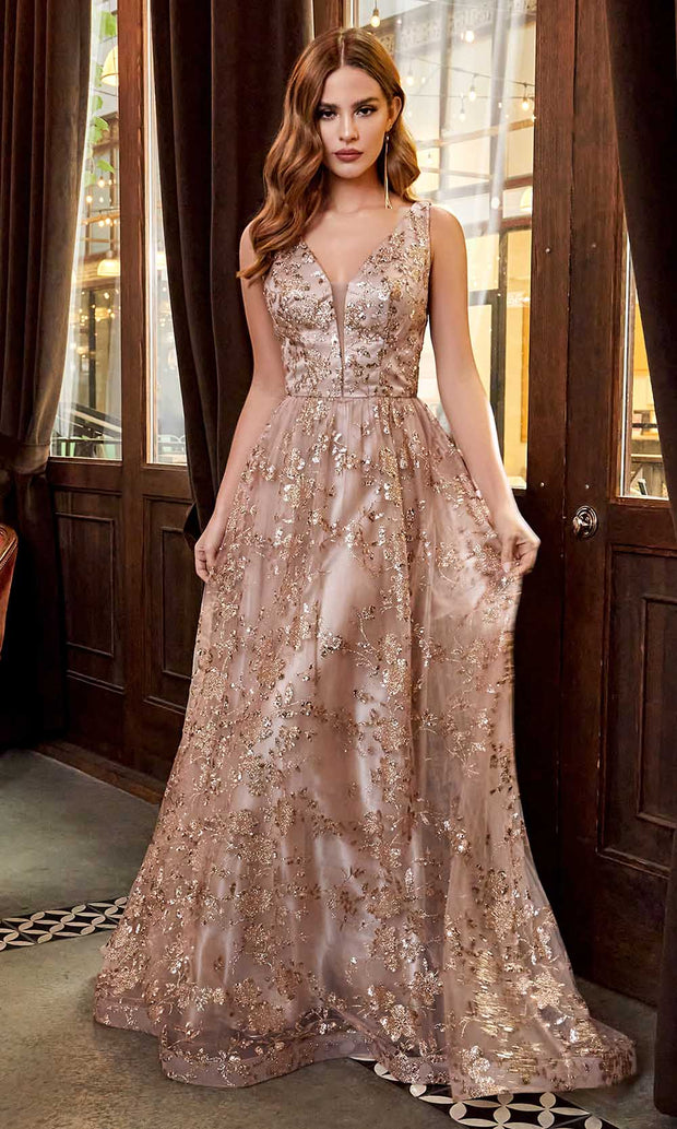 Cinderella Divine - CB068 Plunging V Neck Floral Metallic Print Gown In Mocha and Gold