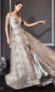 Cinderella Divine - CB069 Embellished Print Off Shoulder Gown In Champagne and Gold