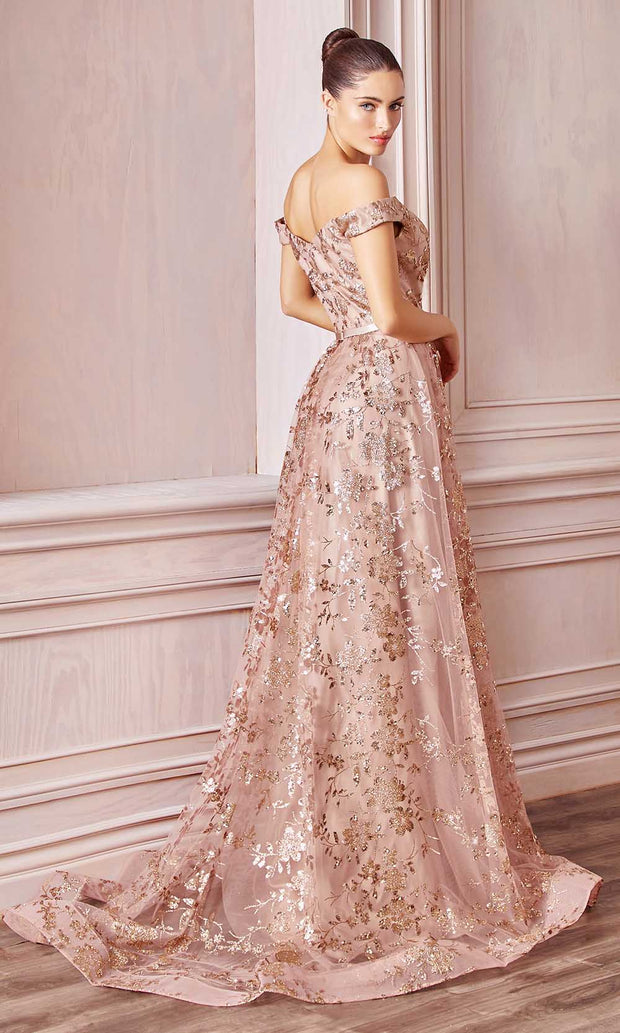 Cinderella Divine - CB069 Embellished Print Off Shoulder Gown In Pink