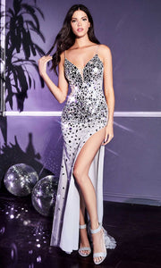 Cinderella Divine - CB071 Glass Festooned High Slit Dress In Silver and Gray