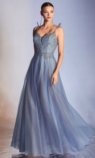 Cinderella Divine - CD0178 Embellished Off Shoulder A-Line Dress In Blue