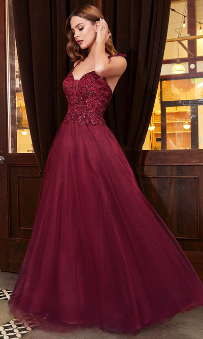 Cinderella Divine - CD0178 Embellished Off Shoulder A-Line Dress In Red