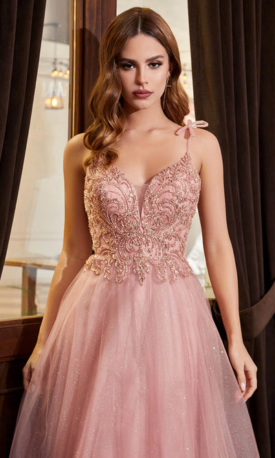 Cinderella Divine - CD0178 Embellished Off Shoulder A-Line Dress In Pink