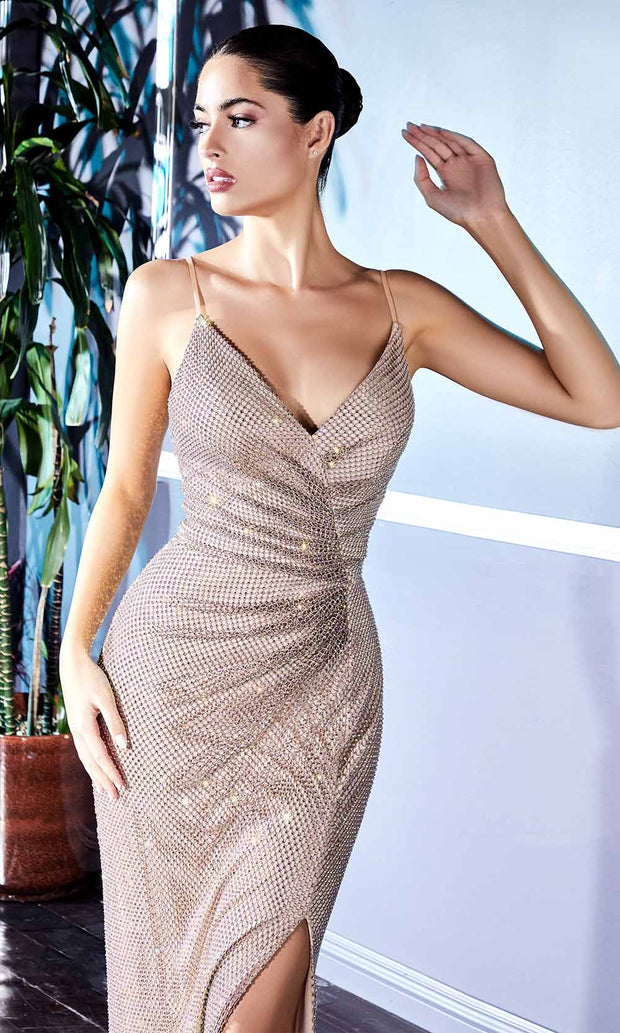 Cinderella Divine - CD217 Beaded Ruche High Slit Dress In Champagne and Gold