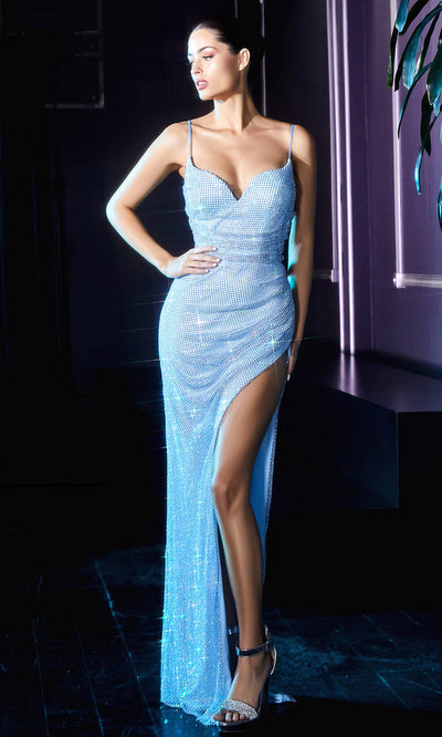 Cinderella Divine - CD219 V Neck High Slit Shimmer Lattice Net Gown In Blue