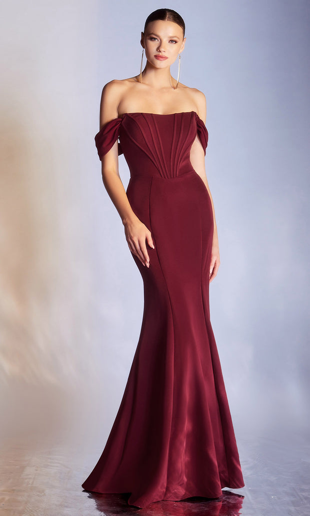 Cinderella Divine - CD223 Modified Sweetheart Neckline Mermaid Gown In Red