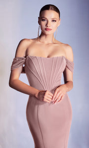 Cinderella Divine - CD223 Modified Sweetheart Neckline Mermaid Gown In Mauve