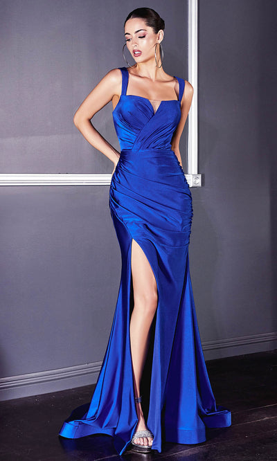 Cinderella Divine - CD941 Sleeveless High Slit Trumpet Evening Gown In Blue