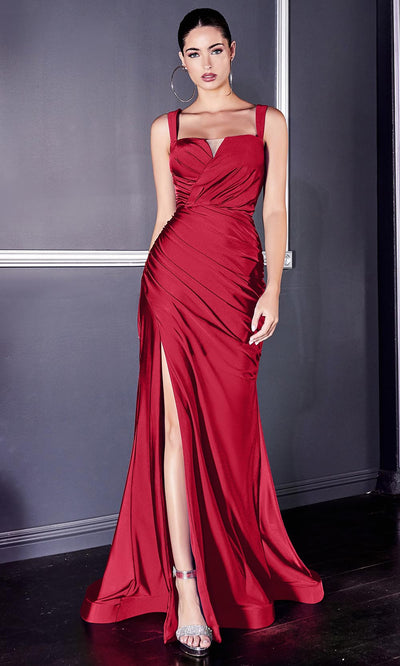 Cinderella Divine - CD941 Sleeveless High Slit Trumpet Evening Gown In Red