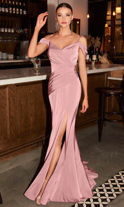 Cinderella Divine - CD942 Cold Shoulder High Slit Sheath Gown In Pink
