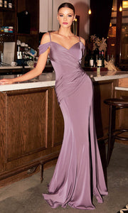 Cinderella Divine - CD942 Cold Shoulder High Slit Sheath Gown In Purple