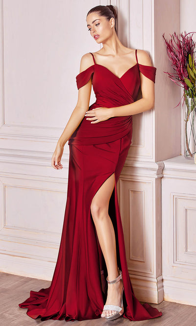 Cinderella Divine - CD942 Cold Shoulder High Slit Sheath Gown In Red